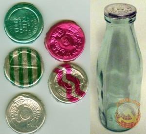 Пробки от стеклянной бутылки в СССР. Молочная продукция