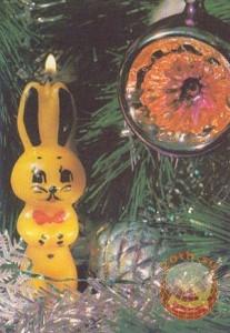 Новый год. Свеча зайка. 1990 год