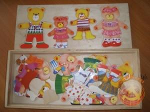 Мишки деревянные. Одежда для мишек. СССР