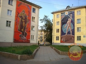 Мозаика времен СССР на домах