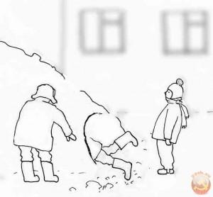 Рытье снежных ходов. Рисунок автора